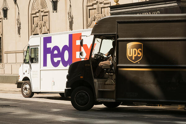 FedEx vs UPS trucks